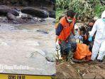 lokasi-penemuan-jasad-perempuan-di-sungai-dan-jasad-perempuan-yang-sedang-dievakuasi-petugas.jpg