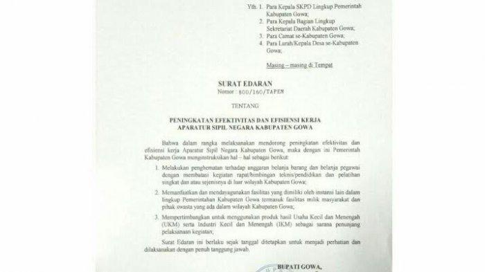 Surat Edaran Bupati Adnan Purichta Ichsan, Larang SKPD Gelar Kegiatan di Luar Gowa