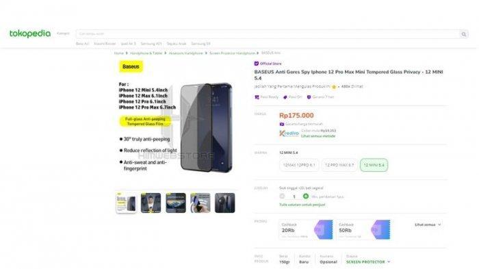 Aksesori iPhone 12 mejeng di situs e-commerce Tokopedia.