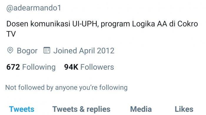 Akun Twitter Ade Armando dihapus apa penyebabnya?