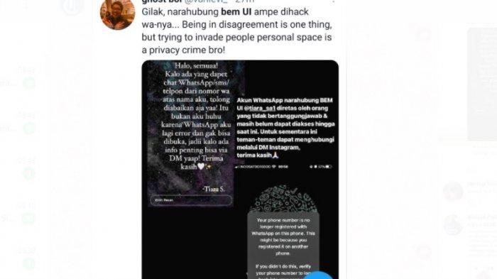 Akun WhatsApp narahubung BEM UI Fathan Mubina kena hack