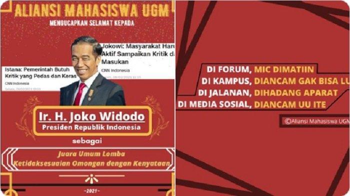 Aliansi Mahasiswa UGM: Jokowi Juara Umum Lomba Ketidaksesuaian Omongan & Kenyataan, Apa Maksudnya?