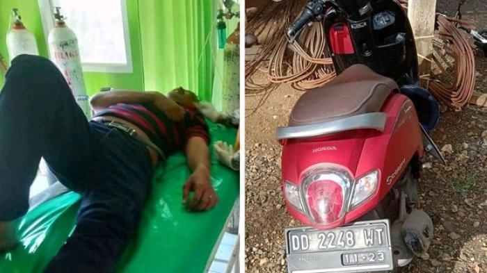 Injak Lubang, Warga Pangkep Alami Kecelakaan Tunggal di Desa Tungke Bone
