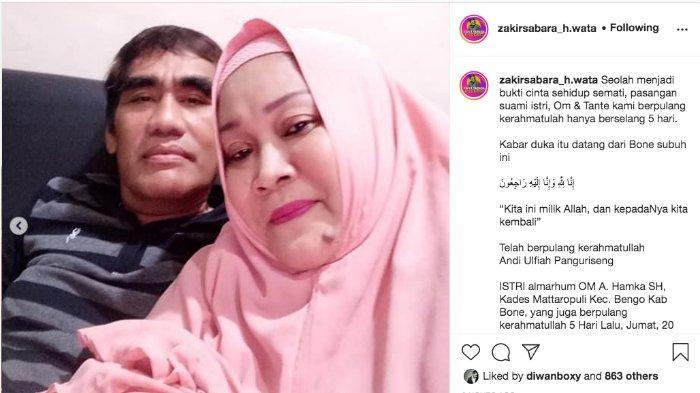 Posting-an Zakir Sabara H Wata tentang kematian Andi Ulfiah Panguriseng.