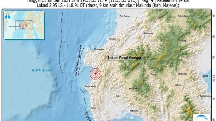 Majene Kembali Diguncang Gempa 4,0 SR