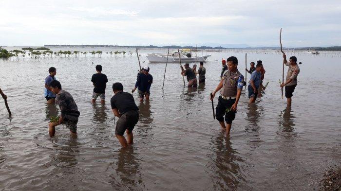 Cegah Banjir, Jajaran Polres Barru Tanam Ribuan Bibit Mangrove