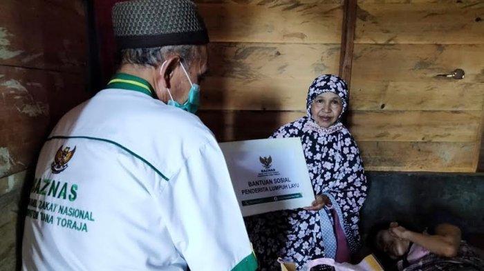Baznas Tana Toraja Bantu Penderita Lumpuh Layu di Gandangbatu Sillanan
