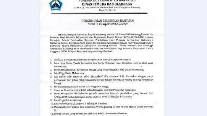 Pemkab Bantaeng Siapkan Beasiswa Penyelesaian Studi  D3, S1 dan S2, Pendaftaran Hingga 28 Oktober