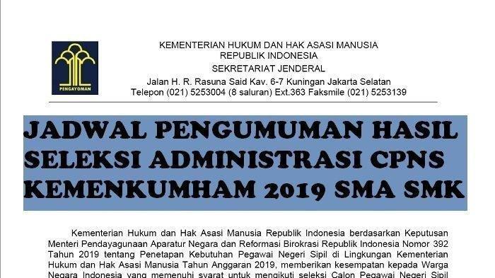 Besok, Pengumuman Hasil Seleksi Administrasi CPNS Kemenkumham 2019 SMA SMK, Pantau di Link Resmi