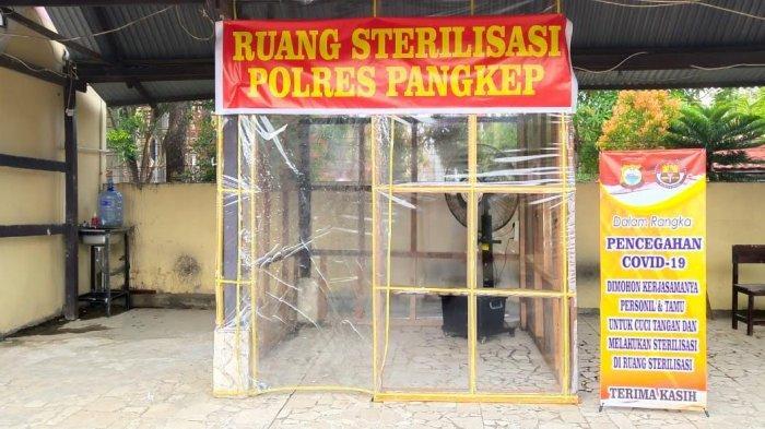 Cegah Covid-19, Polres Pangkep Siapkan Bilik Sterilisasi untuk Anggota dan Pengunjung