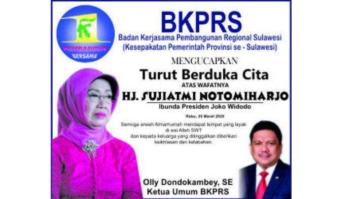 BKPRS Mengucapkan Turut Berduka Cita Atas Wafatnya Hj Sujiatmi Notomiharjo Ibunda Presiden Jokowi