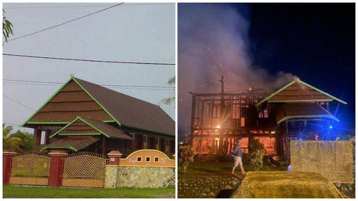 Foto Perbandingan Rumah Adat Bone Bola Soba atau Saoraja Sebelum dan Setelah Terbakar