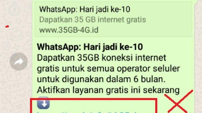 Broadcast Pesan Wa Whatsapp Hari Jadi 11 Gratis 35 Gb Internet Fakta Atau Hoax Jangan Coba Klik Tribun Timur