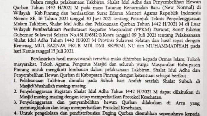 Idul Adha 1442 H, Pemkab Pinrang Tiadakan Takbiran Keliling dan Open House