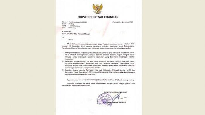 Bupati Polman Terbitkan Edaran Larangan Perayaan dalam Keramaian
