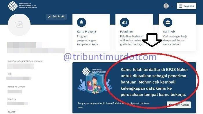Masuk Tahap 5, Cara Lapor BSU / BLT BPJS Ketenagakerjaan yang Belum Cair Lewat kemnaker.go.id / SSO