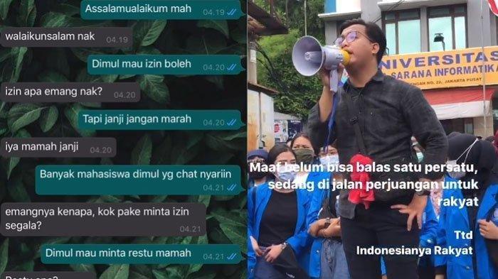 Isi Chat Mahasiswa Minta Restu Ikut Demo Tolak UU Cipta Kerja, Sang Ibu Titip Salam untuk DPR