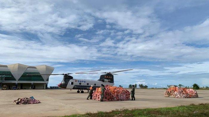 Chinook BNPB Kembali Daratkan 8 Ton Bantuan Korban Gempa Sulbar di Ulumanda