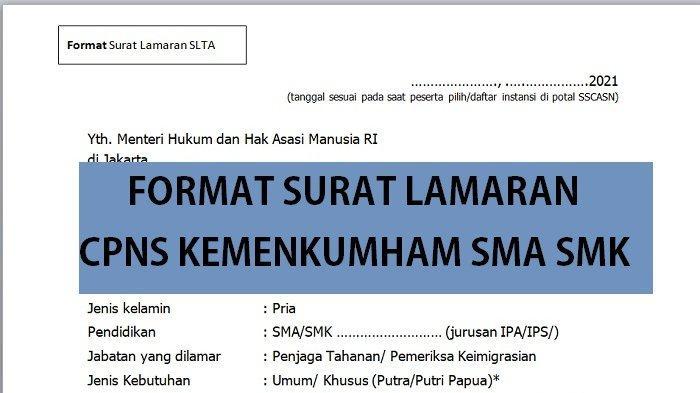 Contoh Surat Lamaran & Surat Pernyataan CPNS 2021 Kemenkumham SMA SMK Sederajat, Bisa Di-Copy Paste