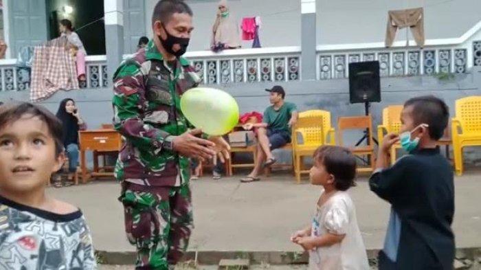 Dandim Polmas Hibur Anak Anak Pengungsi Gempa Sulbar