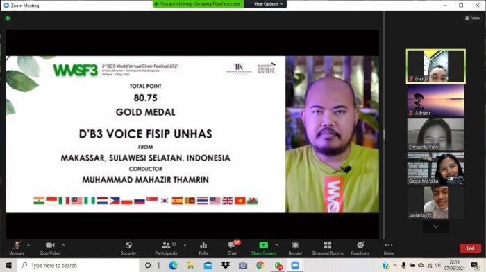 D'B3 Voice FISIP Unhas Raih Medali Emas di The 3rd World Virtual Choir Festival 2021