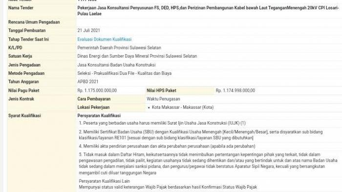 Kabel Bawah Laut CPI -  Pulau Laelae Makassar Ditender Rp 1,17 M