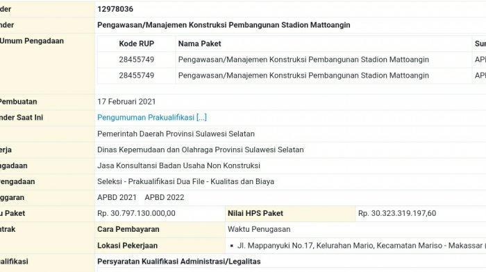 Manajemen Konstruksi Stadion Mattoanging Mulai Ditender, Pagu Paket Rp 30,79 Miliar