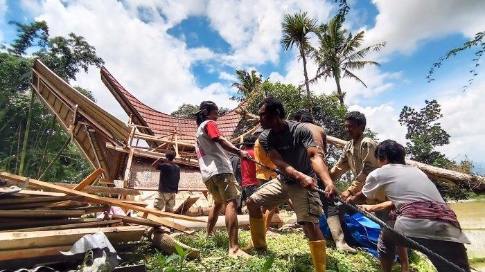 Diterjang Puting Beliung, 4 Alang di Marante Toraja Utara Porak Poranda