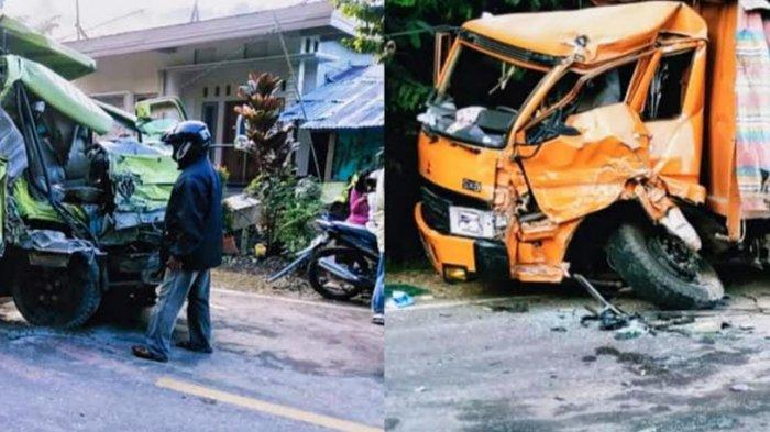 Dump Truk vs Tronton di Salubarani Tana Toraja, Sopir Terjepit Rangka Mobil