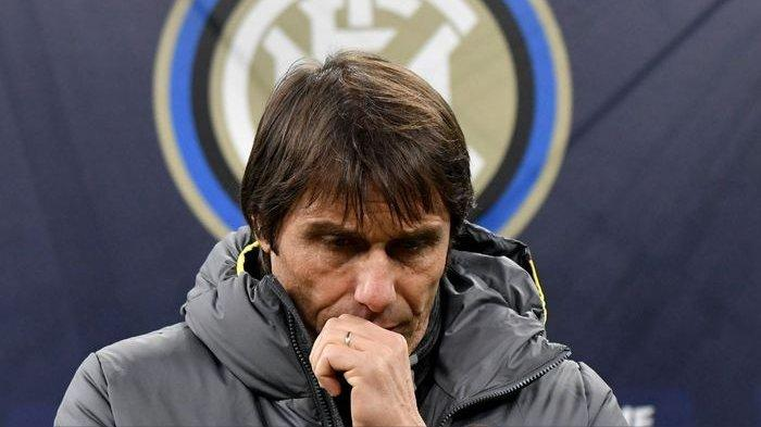 Ekspresi pelatih Inter Milan, Antonio Conte.