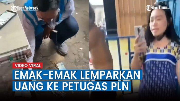 VIDEO Viral Emak-emak Lempar Uang ke Petugas PLN, Diduga Menunggak Pembayaran Listrik