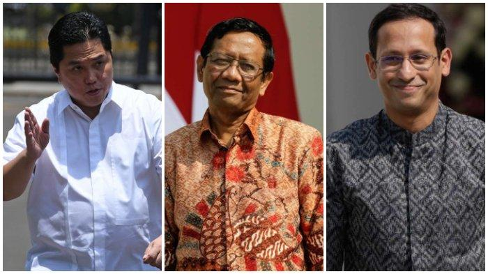 Prabowo Subianto Gimana? Erick Thohir, Nadiem Makarim, Mahfud MD Jadi Menteri Terbaik, Cek Daftarnya