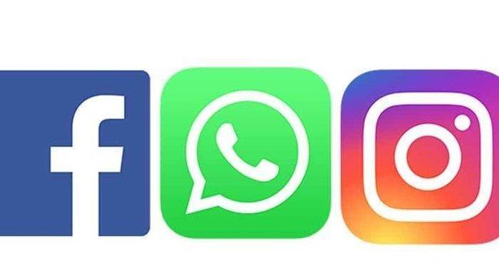 Ilustrasi aplikasi Facebook, Instagram, WhatsApp.