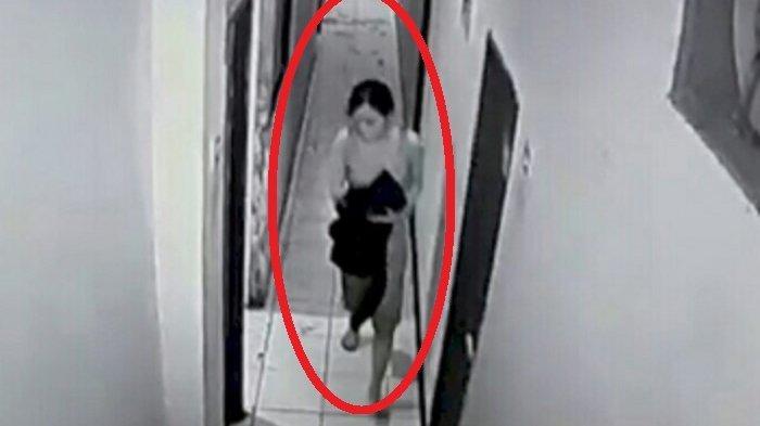 Wanita Pelaku Pembunuhan di Wisma Topaz Panakkukang Makassar Terekam Kamera CCTV