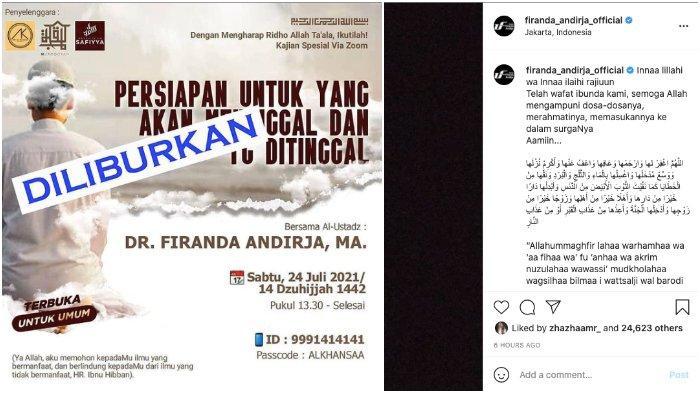 Suendah Ibunda Ustadz Firanda Andirja Meninggal, 2 Kajian Terkait Duka Cita Ditunda