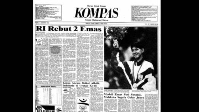 Foto <a href='https://manado.tribunnews.com/tag/susi-susanti' title='SusiSusanti'>SusiSusanti</a> memegang kembang dipilih menjadi Foto headline Harian Kompas saat 5 Agustus 1992