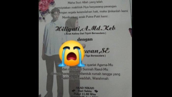 Foto undangan pernikahan bidan Hiliyati bidan Pangkep, akad nikah 5 hari lagi namun ia meninggal kecelakaan di Labakkang
