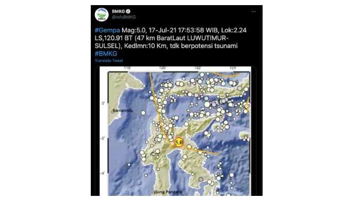 Warga Palopo Rasakan Getaran Gempa Luwu Timur, 'Sampai Lemari Kamar Terbuka Sendiri'