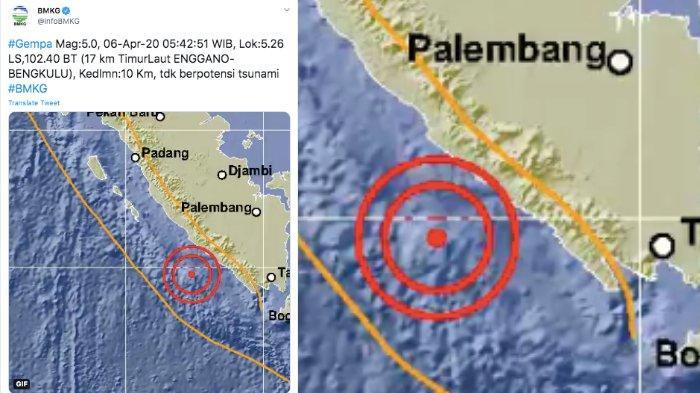 BMKG: Gempa Bumi 5 SR di Bengkulu, Tak Berpotensi Tsunami, Sebelumnya 6,1 SR di Maluku Utara