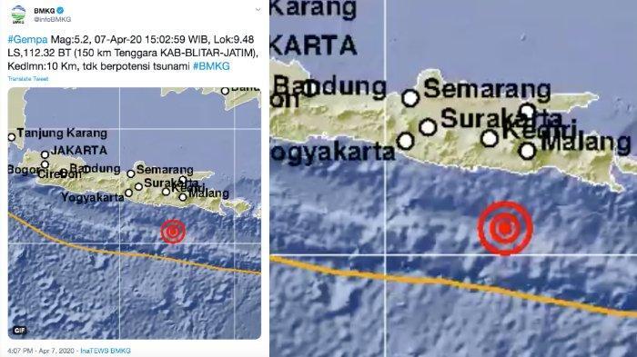 BMKG: Gempa Bumi 5,2 SR di Blitar Jawa Timur ( Jatim ), Tidak Berpotensi Tsunami, Doa Dibaca