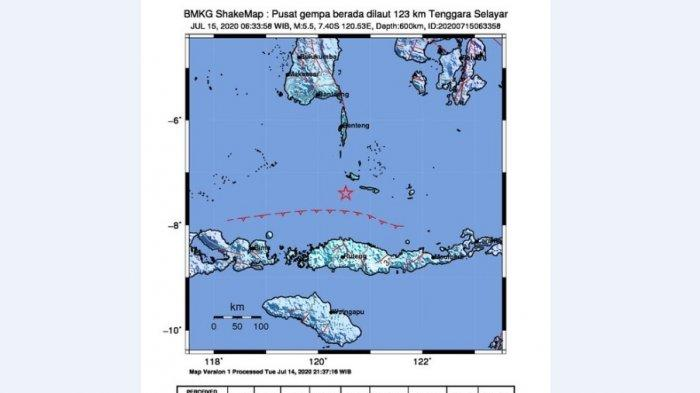 Gempa 5,5 SR Guncang Kepulauan Selayar, Tak Berpotensi Tsunami