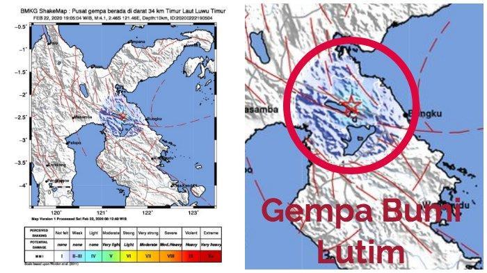 BMKG: Gempa Bumi 4,1 SR di Luwu Timur atau Lutim, Dirasakan di Soroako, Malili