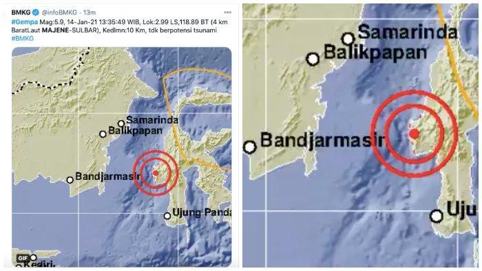 Gempa 5,9 Magnitudo di Majene, Terasa hingga di Dua Boccoe Kabupaten Bone