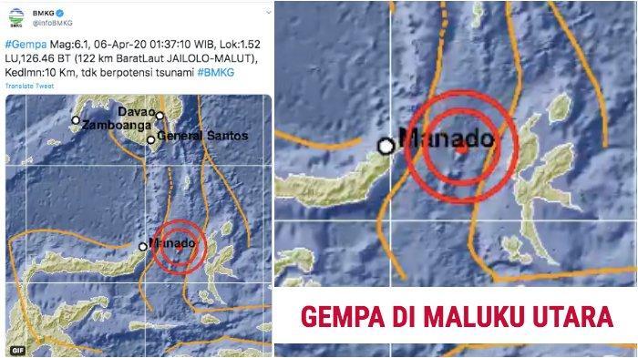 BMKG: Gempa Bumi Terkini 6,1 SR di Maluku Utara atau Malut, Tak Berpotensi Tsunami, Doa Dibaca