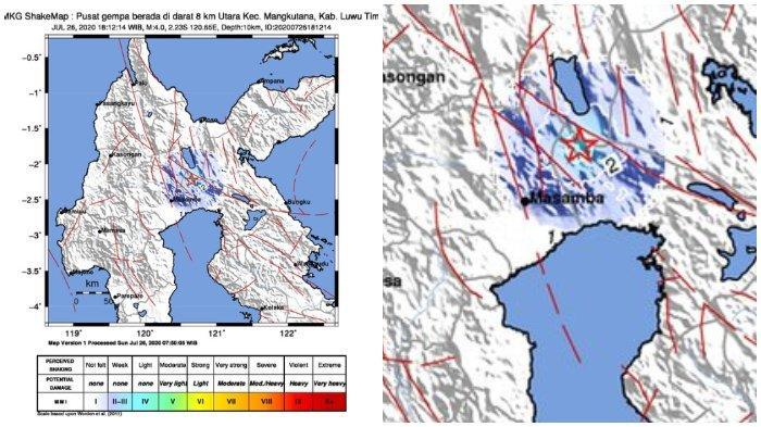 BMKG: Gempa Bumi 4 SR Terjadi Lagi di Luwu Timur atau Lutim, Dirasakan di Masamba dan Mangkutana