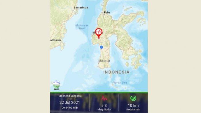 Getaran Gempa Mamasa 5,3 M Dirasakan Hingga di Pinrang