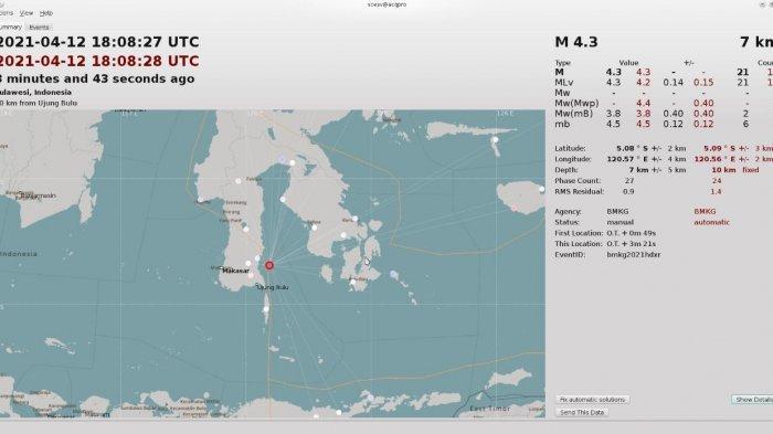 Gempa Magnitudo 4,3 SR Terjadi di Timur Laut Bulukumba, Terasa di Bontotiro