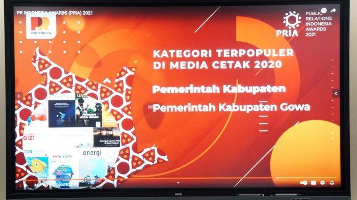 Gowa Dinobatkan Kabupaten Terpopuler di Media Cetak Tahun 2020