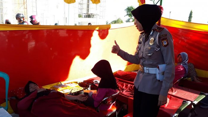 Yuk Donor Darah bersama Satlantas Polres Gowa di Car Free Day Jl Masjid Raya