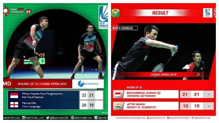 Hasil China Open 2019-Ahsan/Hendra dan Wahyu/Ade Menang, Indonesia Punya 4 Ganda Putra di Babak ke-2